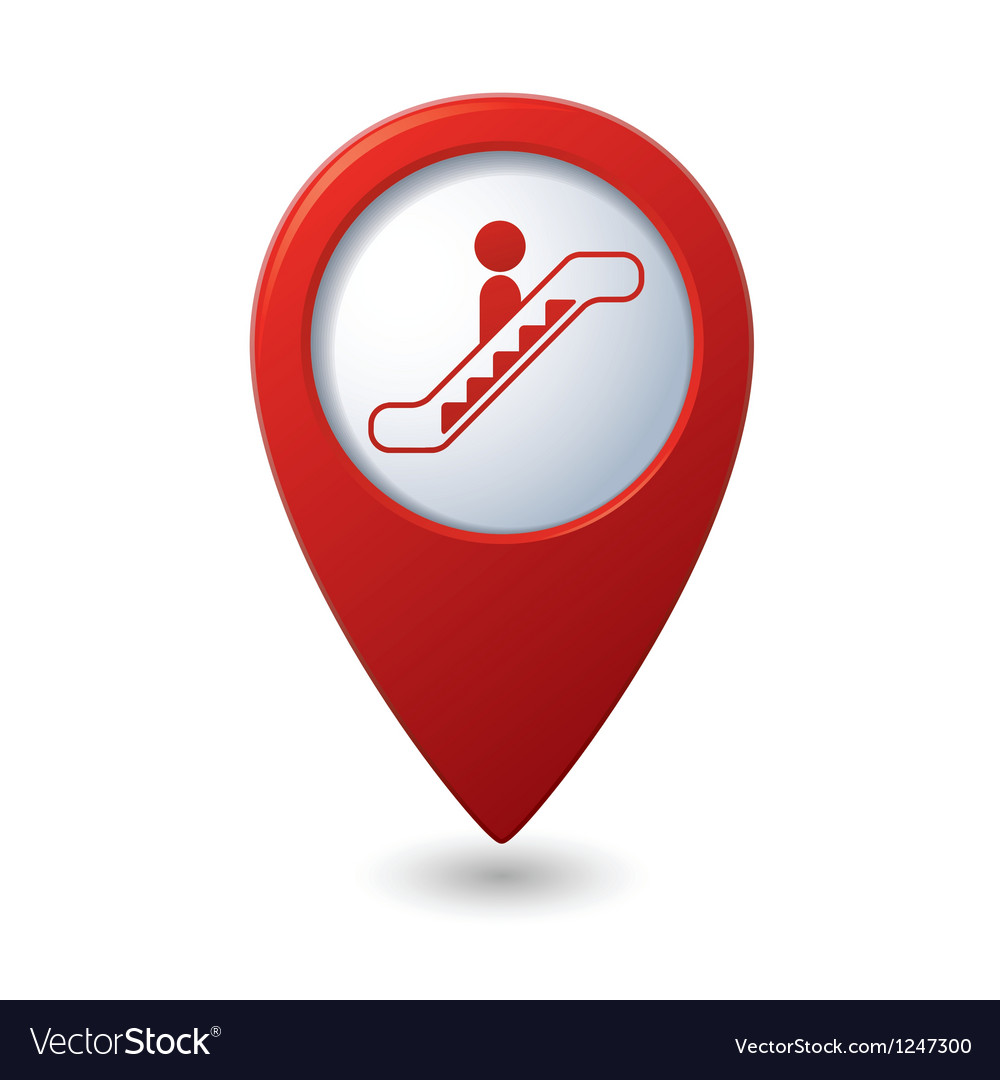 Map pointer with escalator icon vector