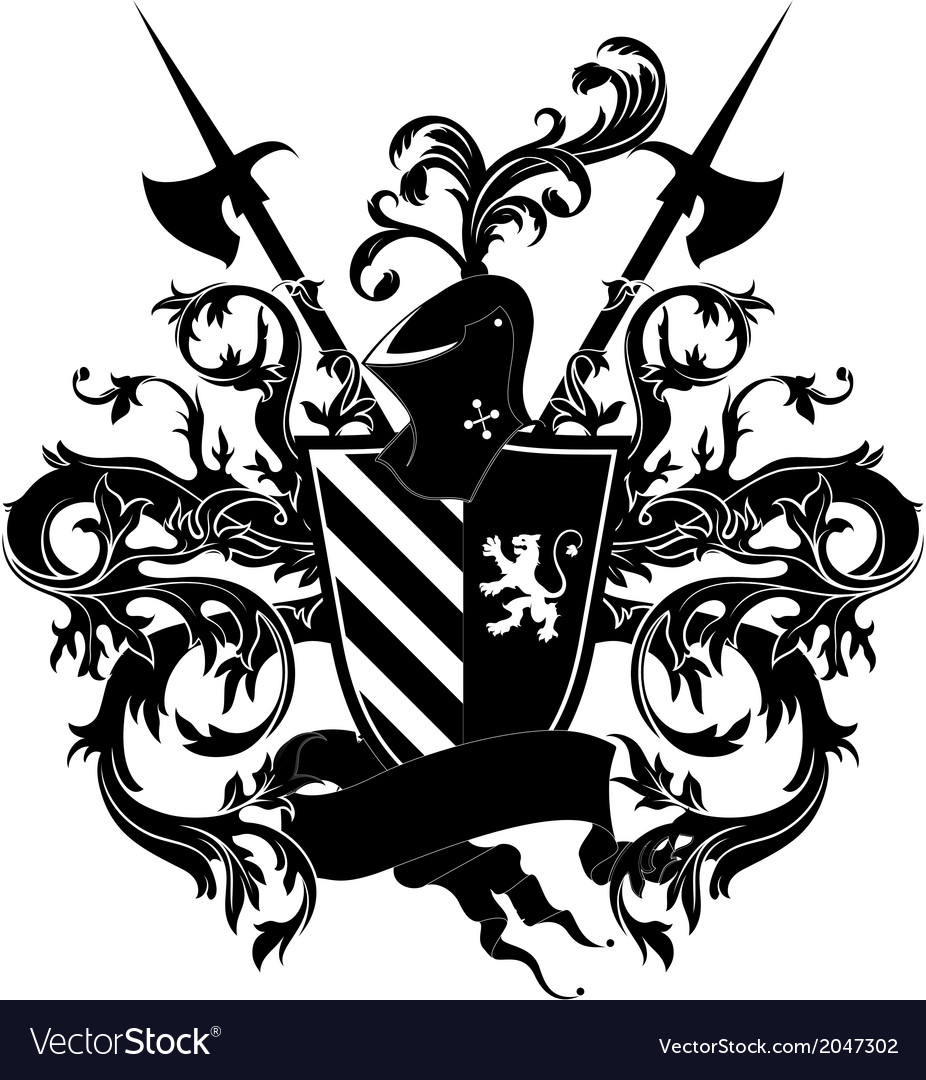 Ornamental shield with armor vector