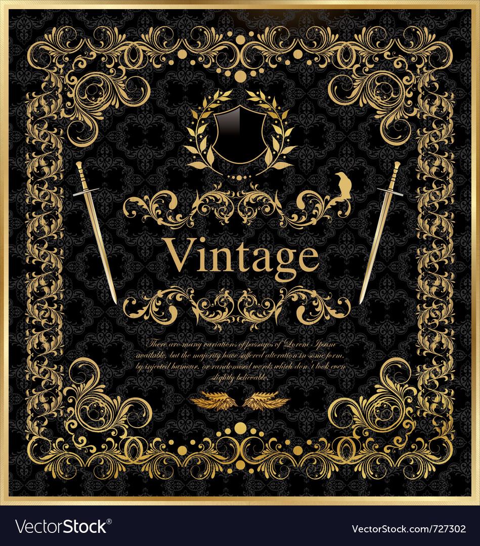 Vintage gold black frame decor label vector
