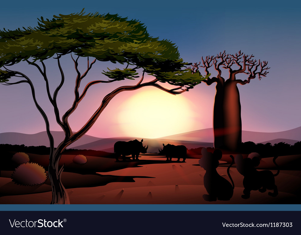 A dark view of nature with animals vector