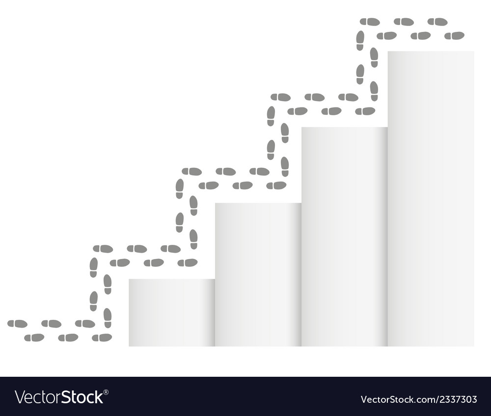 Footprints and stairs vector