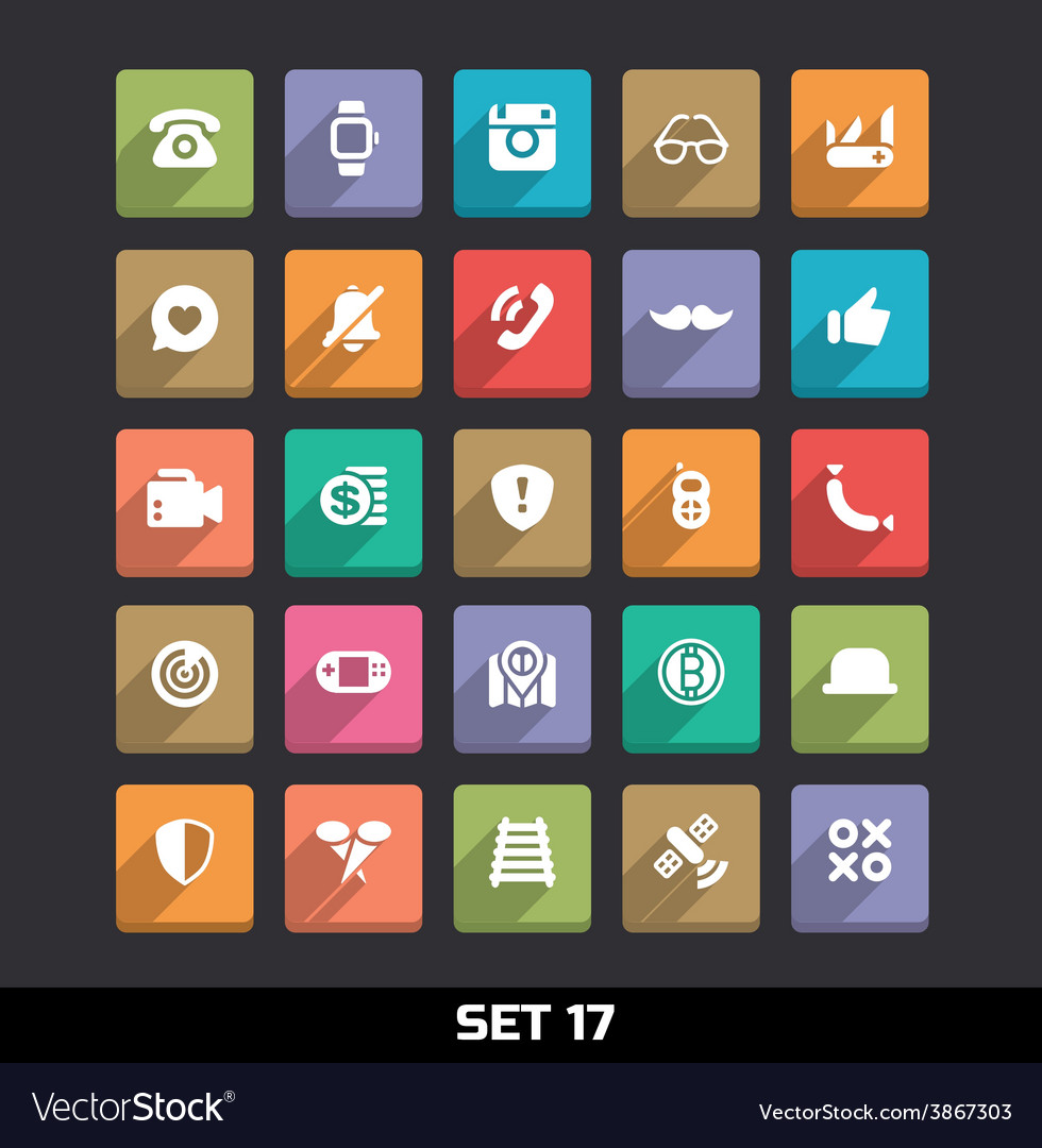 Trendy icons with long shadow set 17 vector