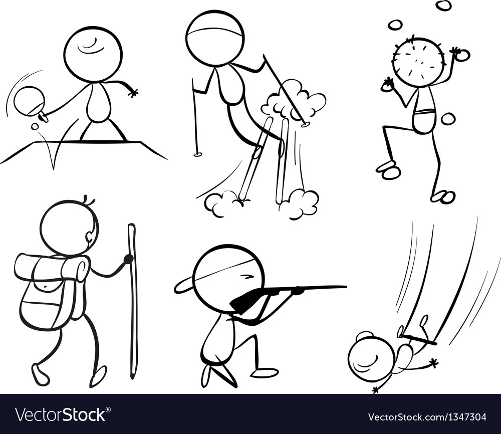Doodle designs of sporty people vector