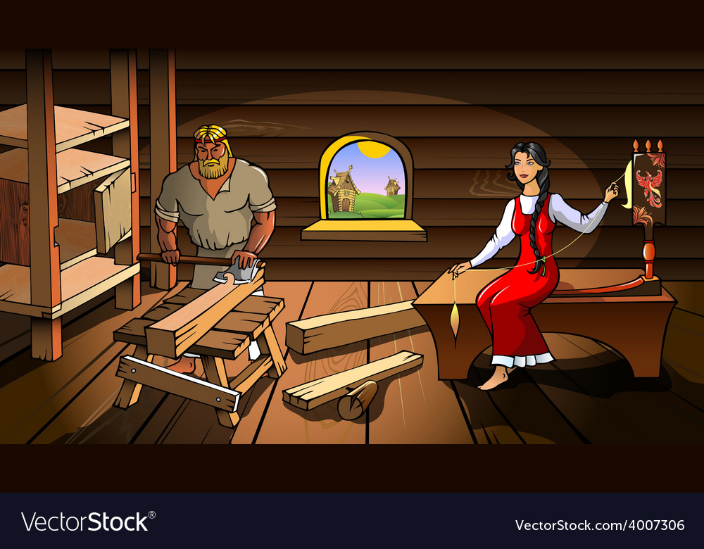 Ancient russian peasant house vector