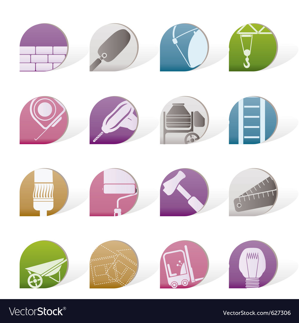 Construction and building icons vector