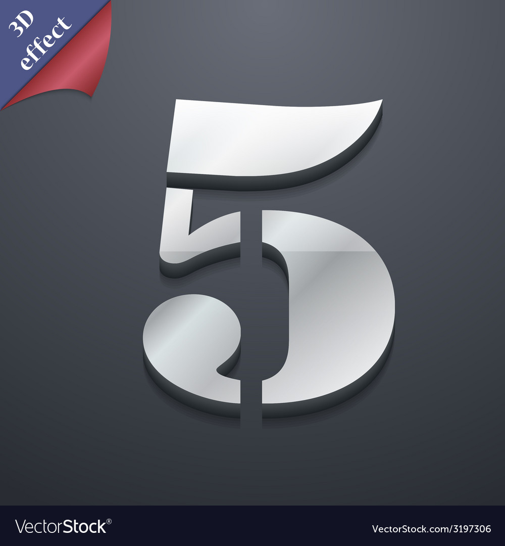 Number five icon symbol 3d style trendy modern vector
