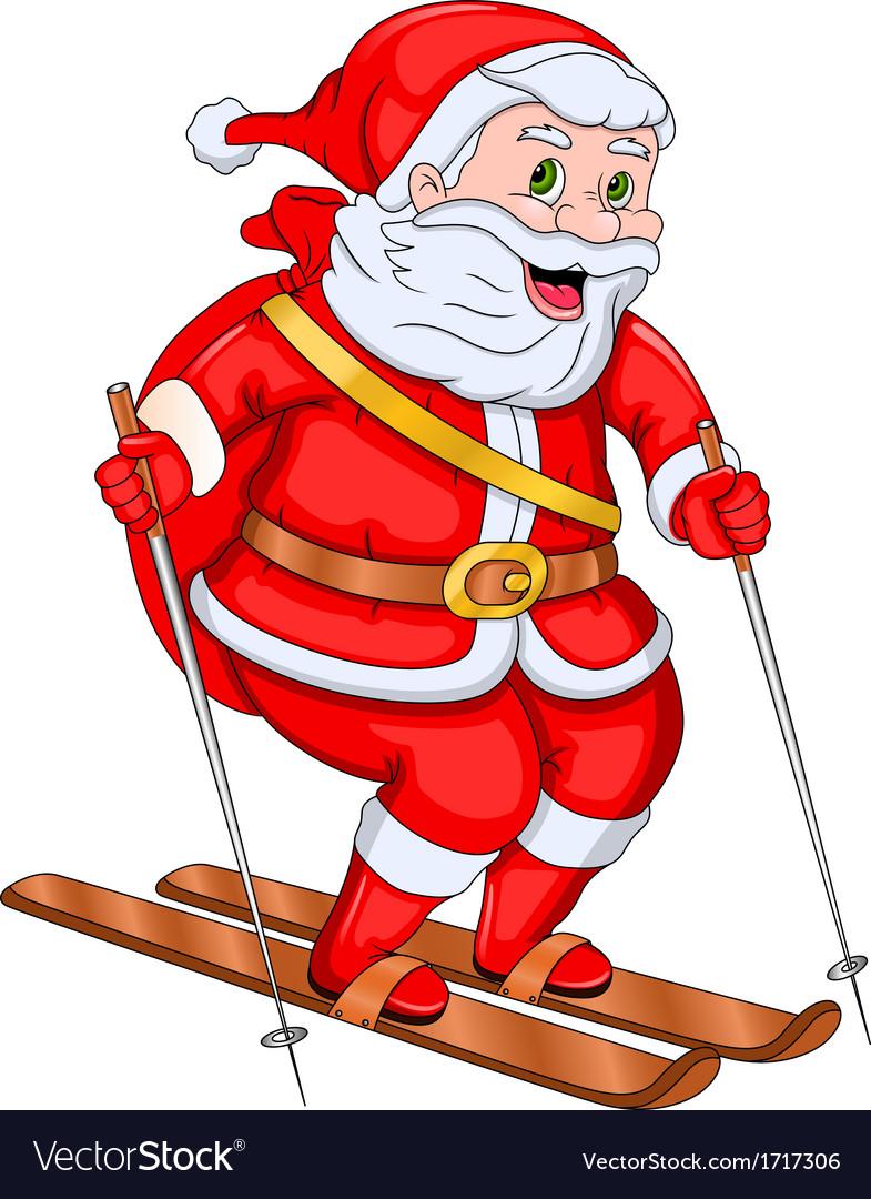 Santa claus skiing vector