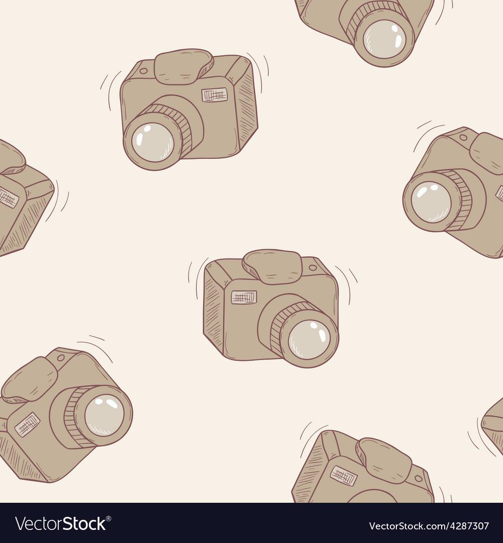 Sketched digital camera seamless pattern vector