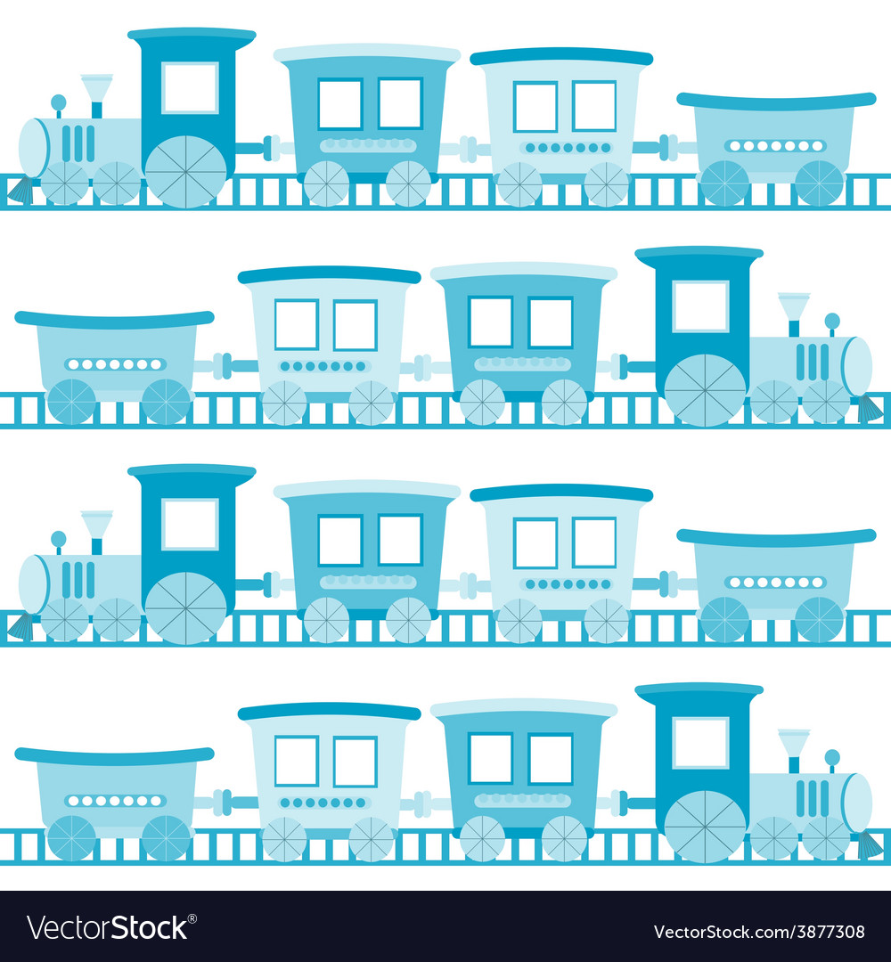 Baby boy background with blue cartoon toy train vector