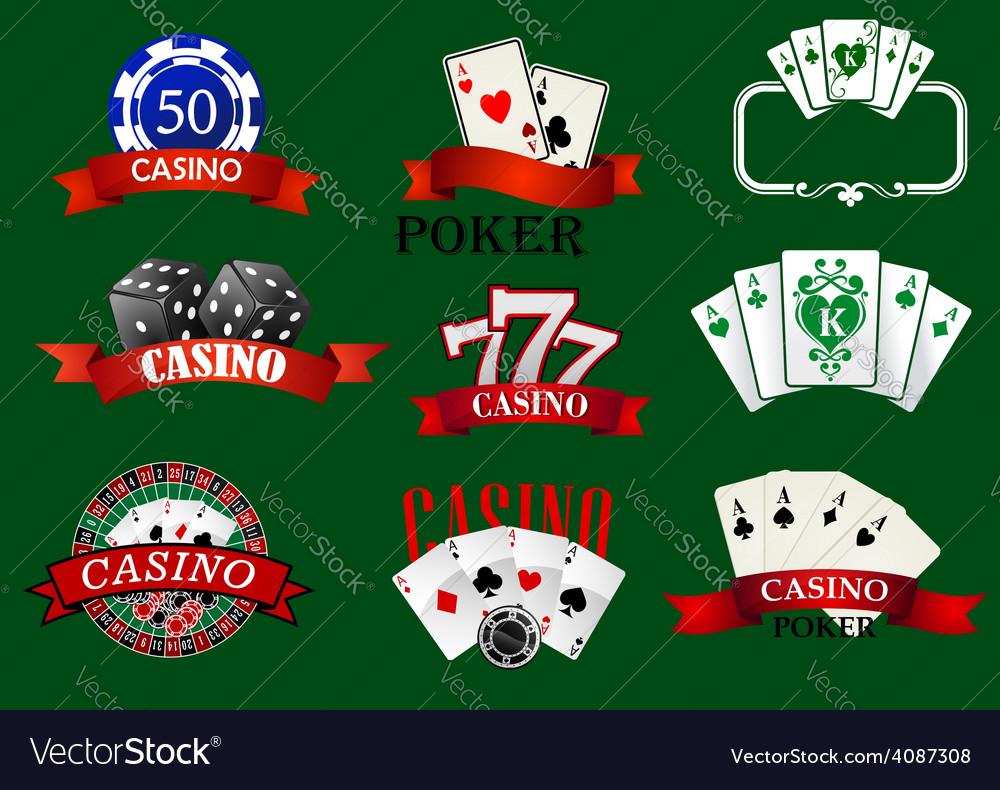 Casino and gambling icons set vector