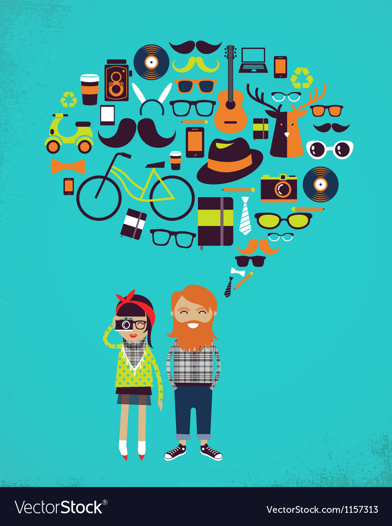 Hipster speech bubble with icons and stylish young vector