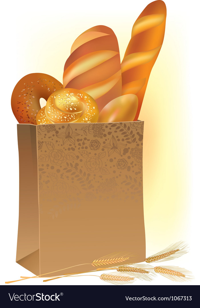 Paper bag with bread vector
