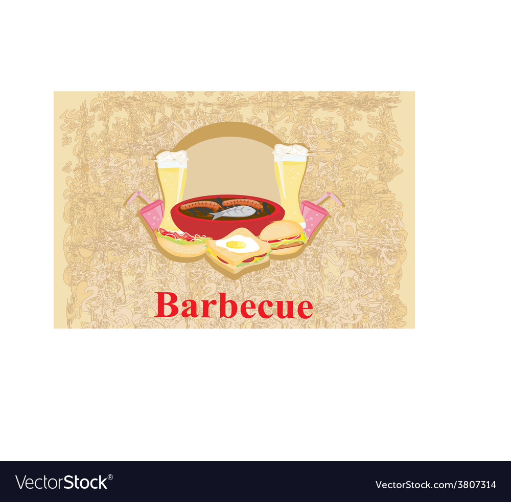 Barbecue party - vintage invitation vector