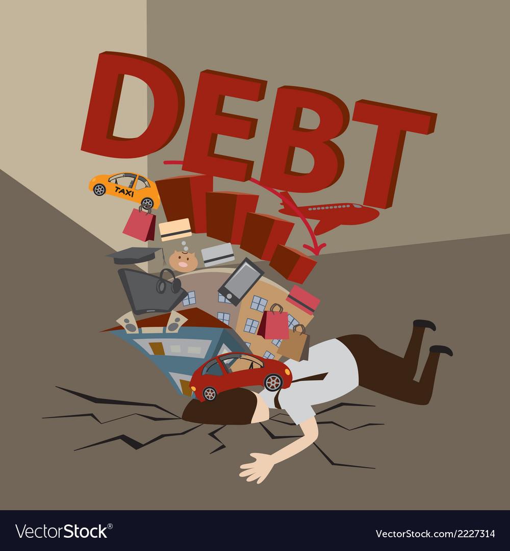 Businessman with debt vector