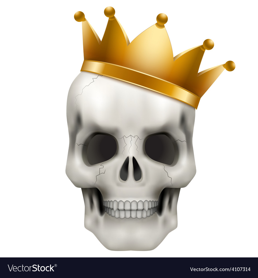 Human skull with king golden crown vector