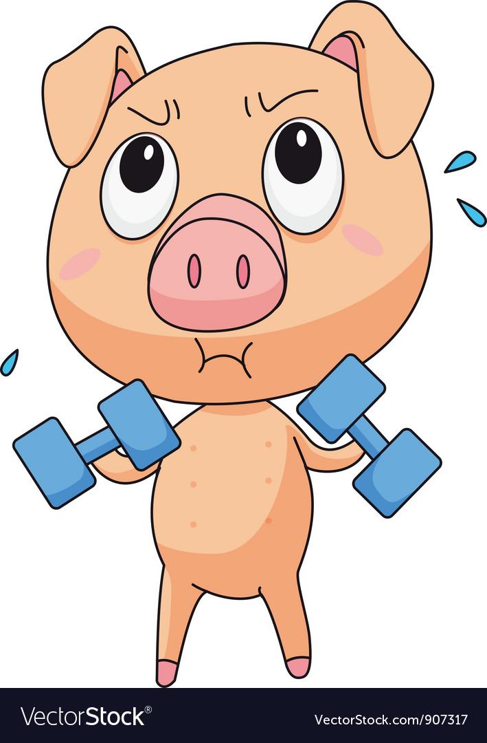 Fit pig vector