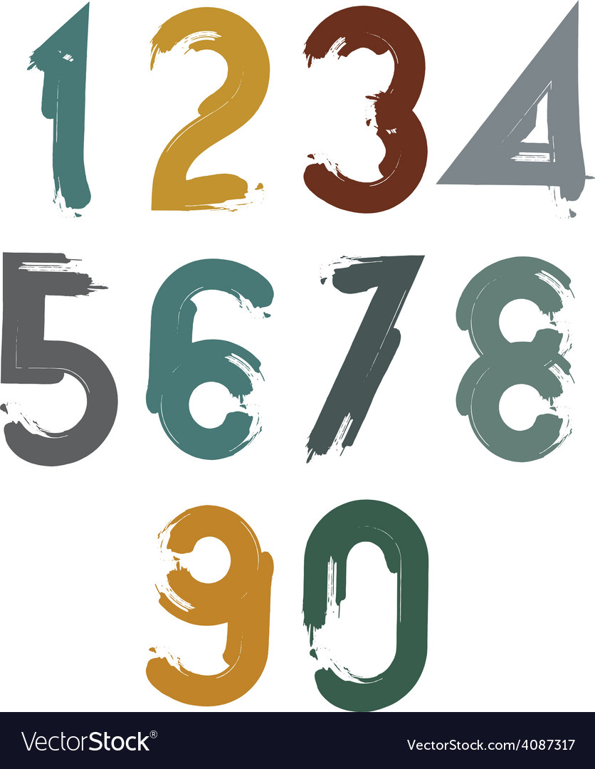 Handwritten contemporary digit set doodle vector