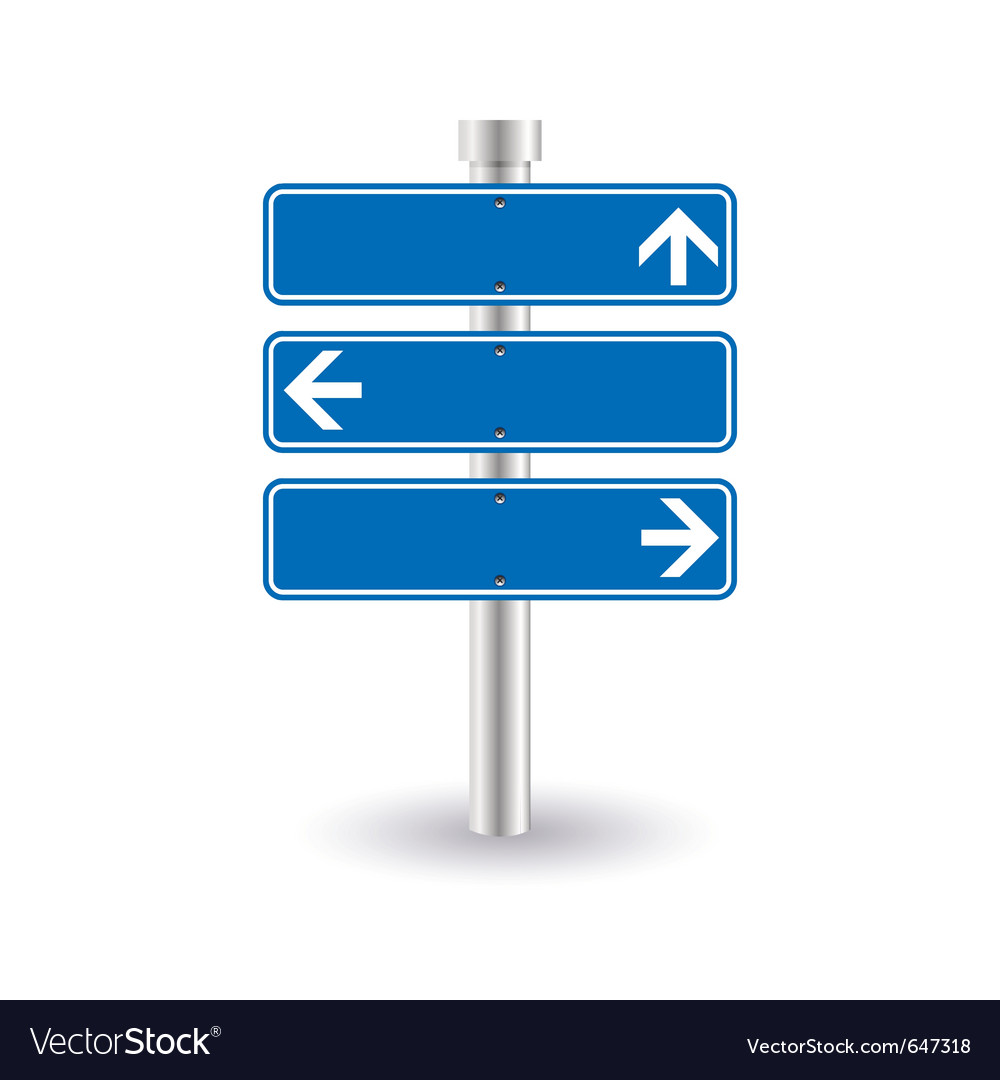 Blue direction sign vector