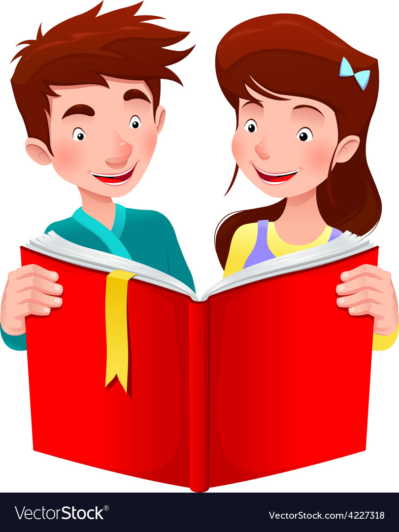 Boy and girl are reading a book vector