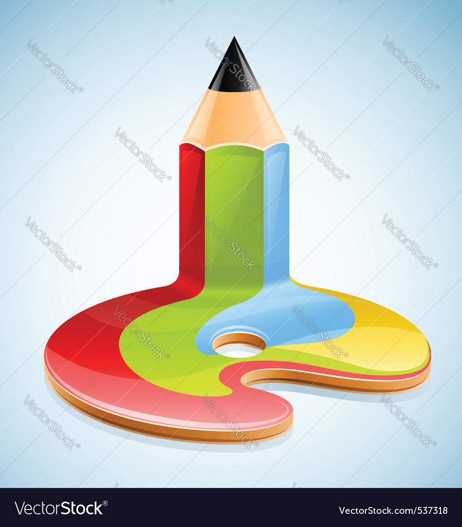 Pencil as symbol of visual art vector