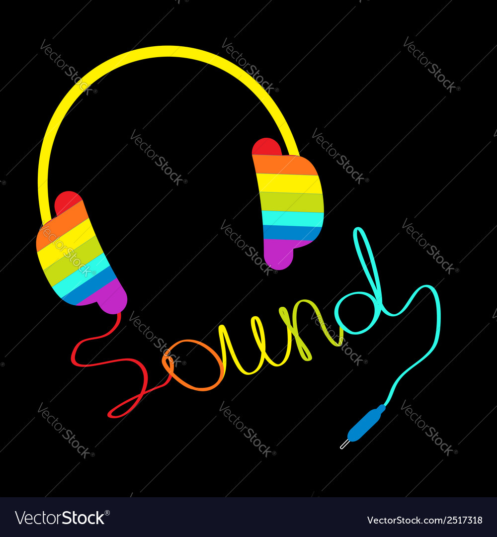 Rainbow headphones with cord word sound vector