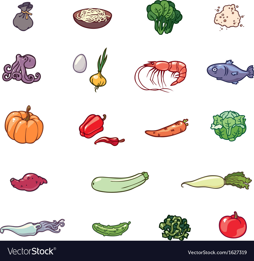 Set of the food products vector