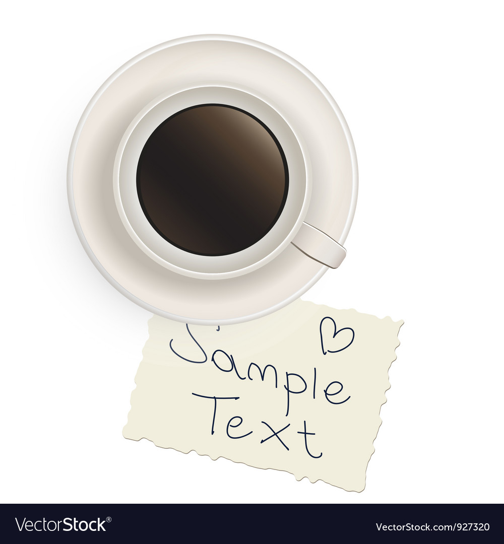 Cup with black coffee with a note vector