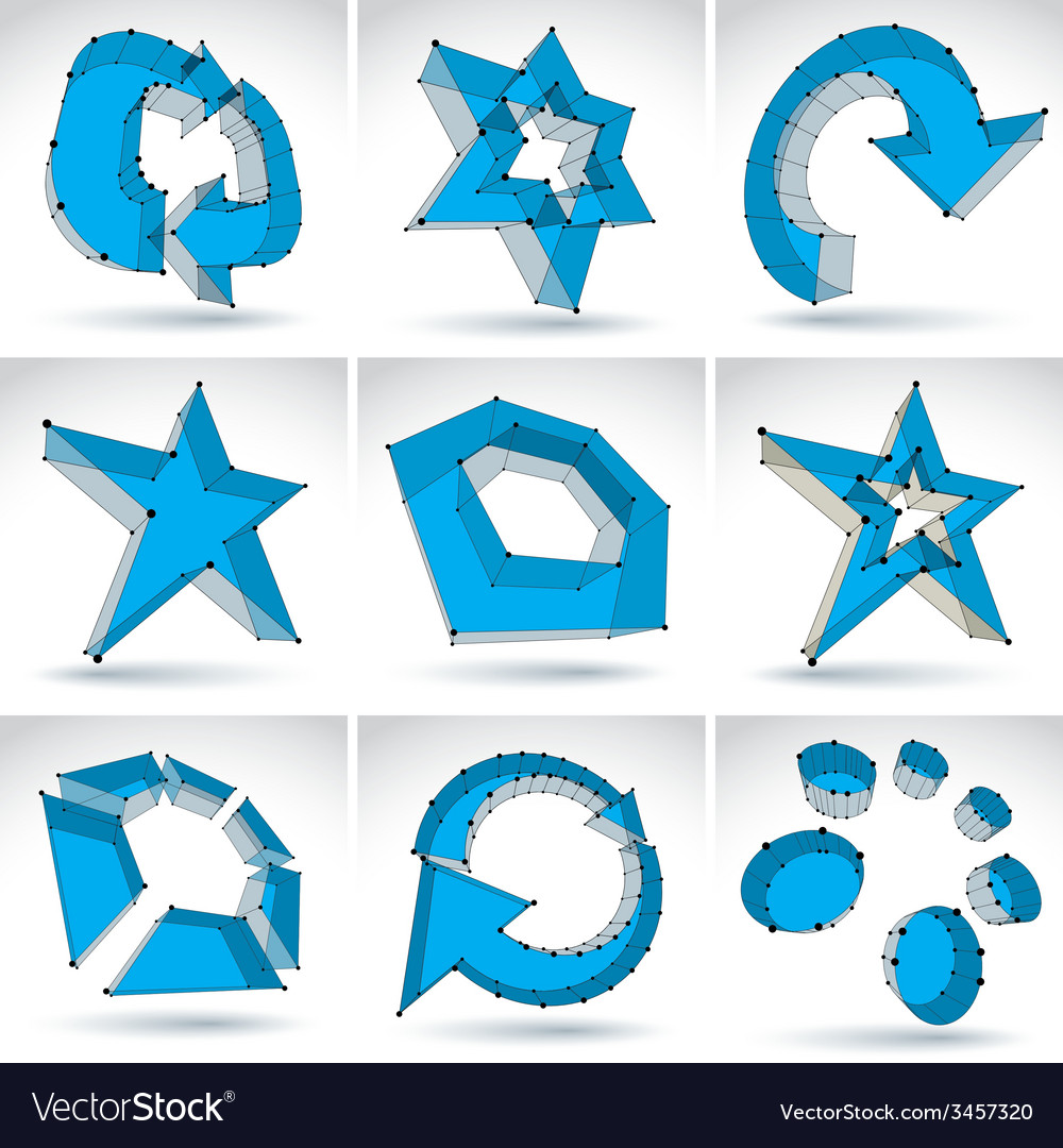 Set of 3d mesh colorful abstract objects isolated vector