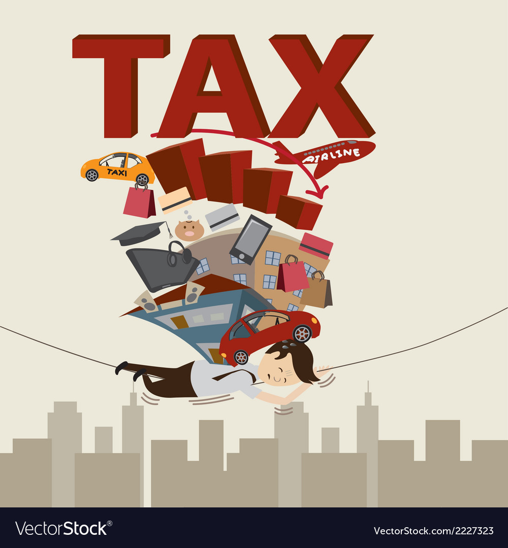 Businessman with tax and debt on the rope vector