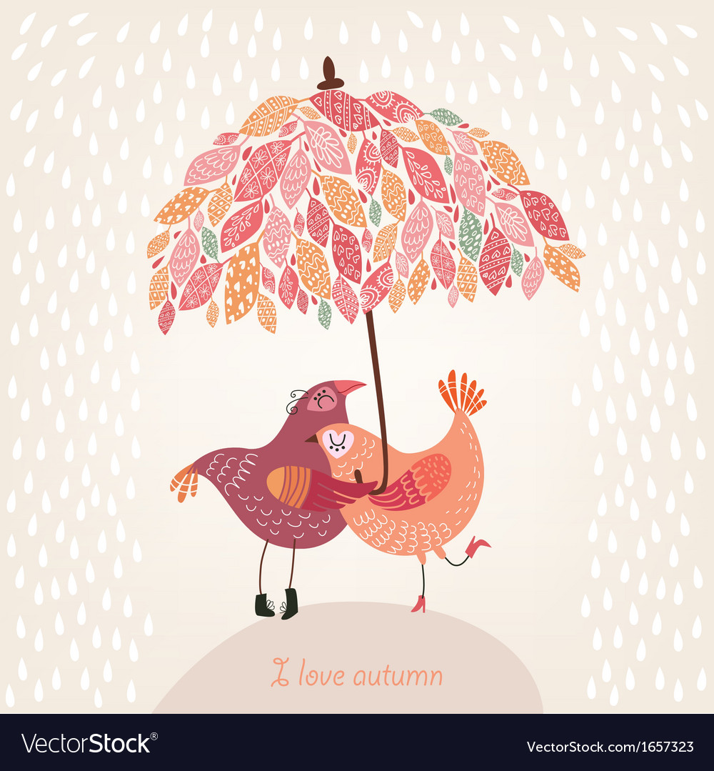 Romantic autumn background with birds in love vector