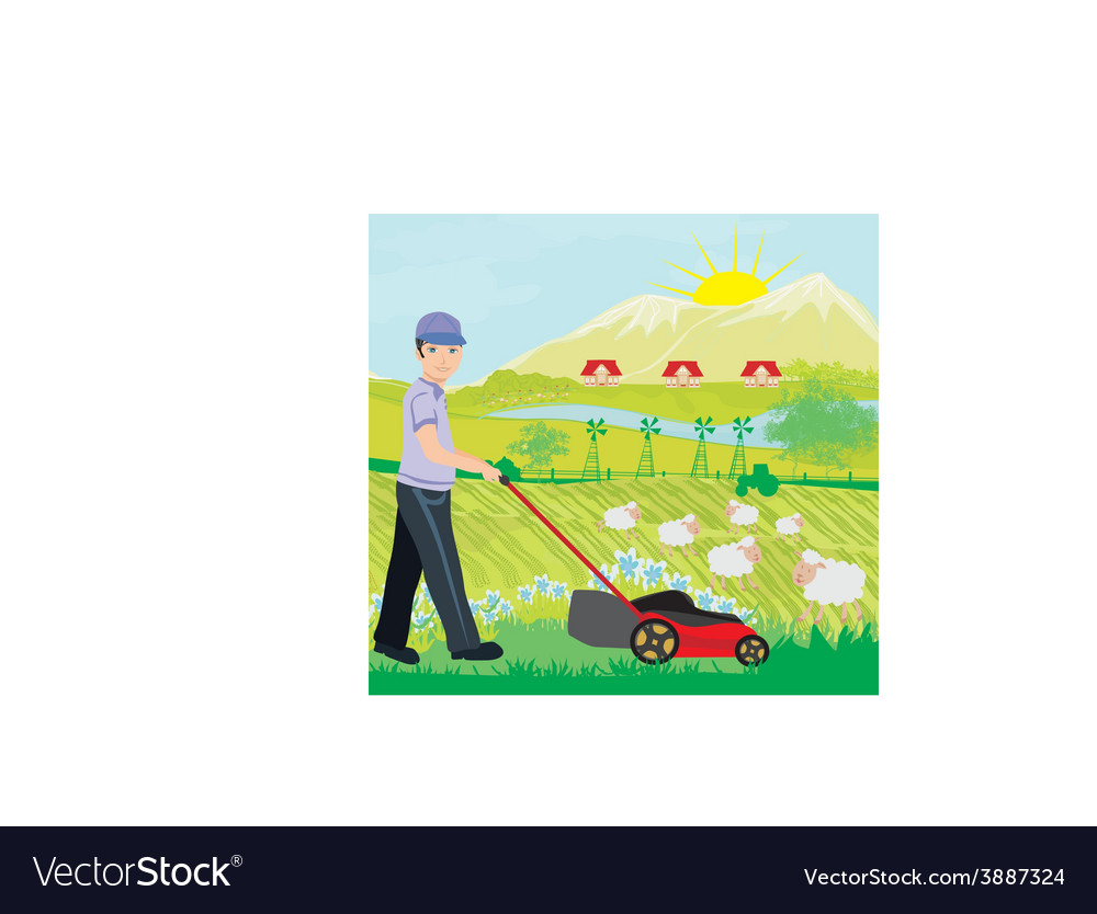 A of a man mowing the lawn vector