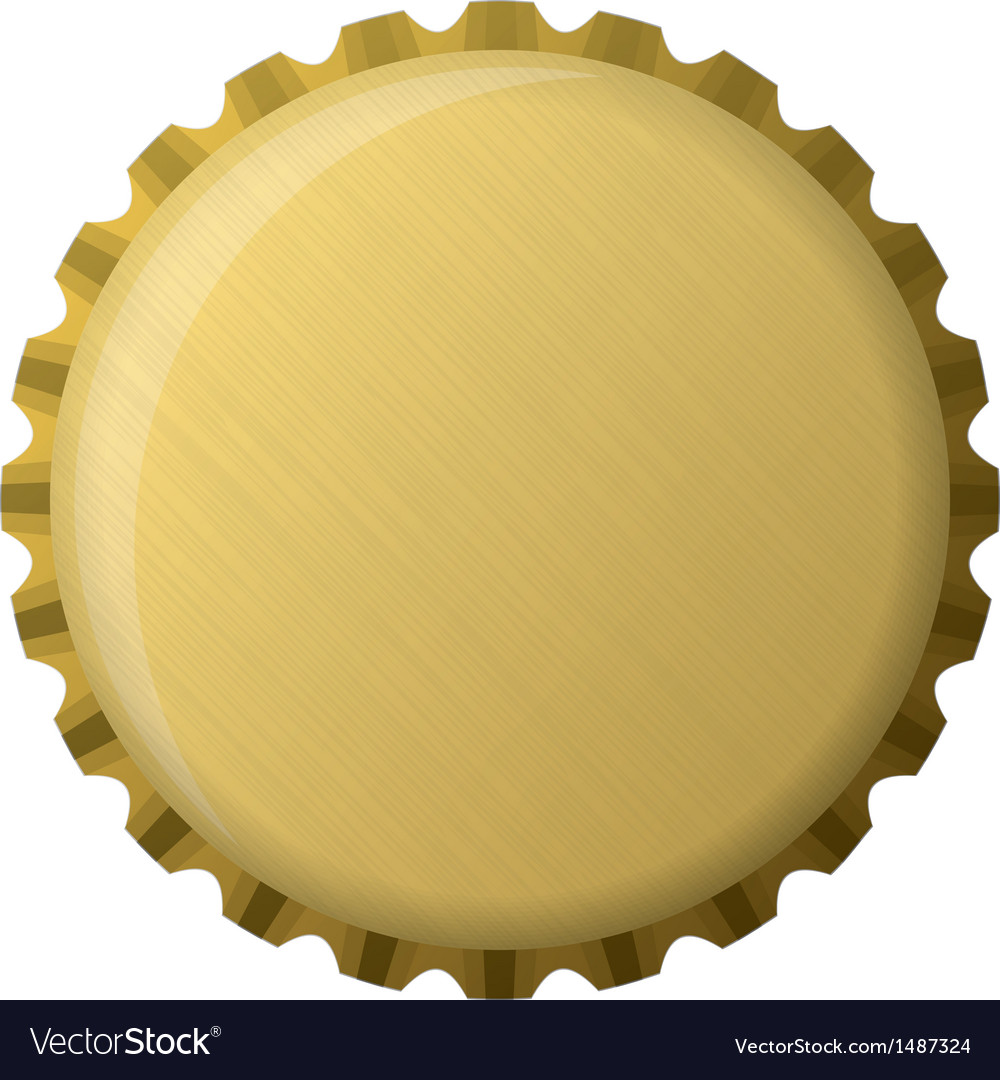 Gold bottle cap vector