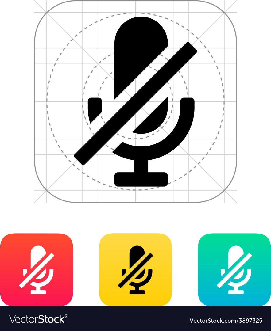 Turn off microphone icon vector