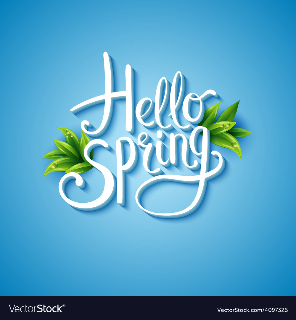 Fresh blue hello spring background vector