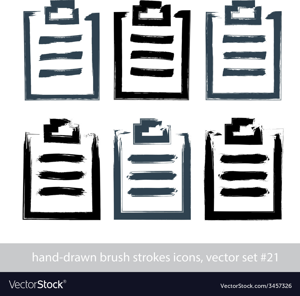Set of hand-drawn simple prescription pads brush vector