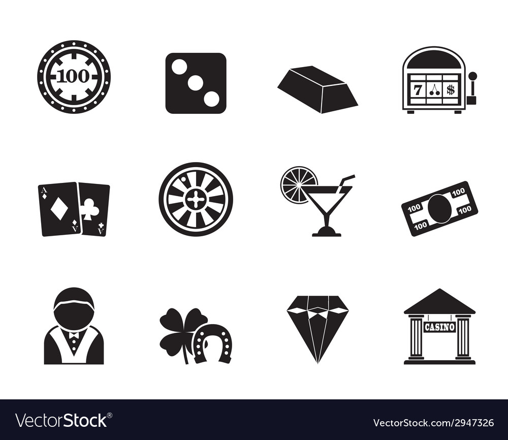Silhouette casino and gambling icons vector