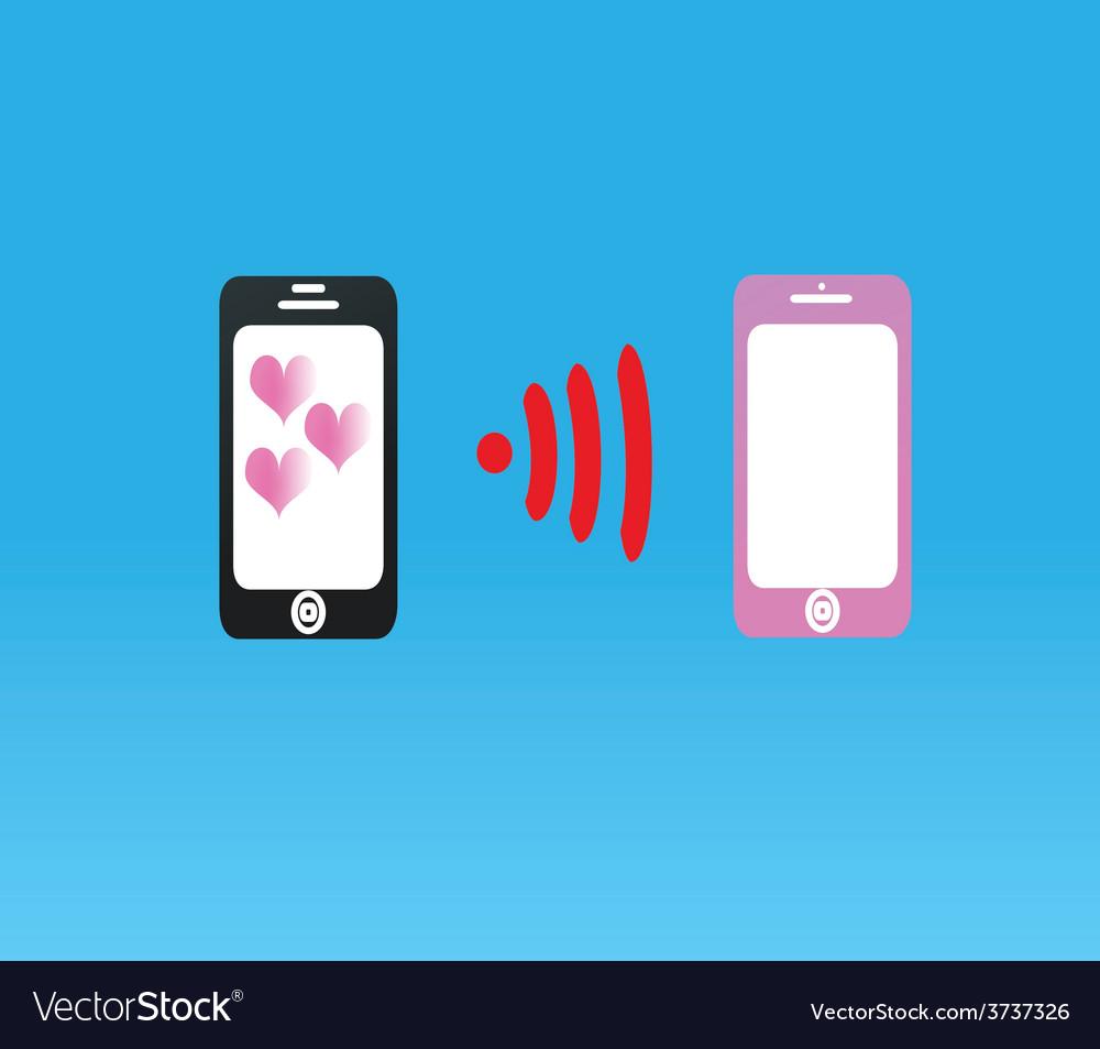 Telephone love send to love vector
