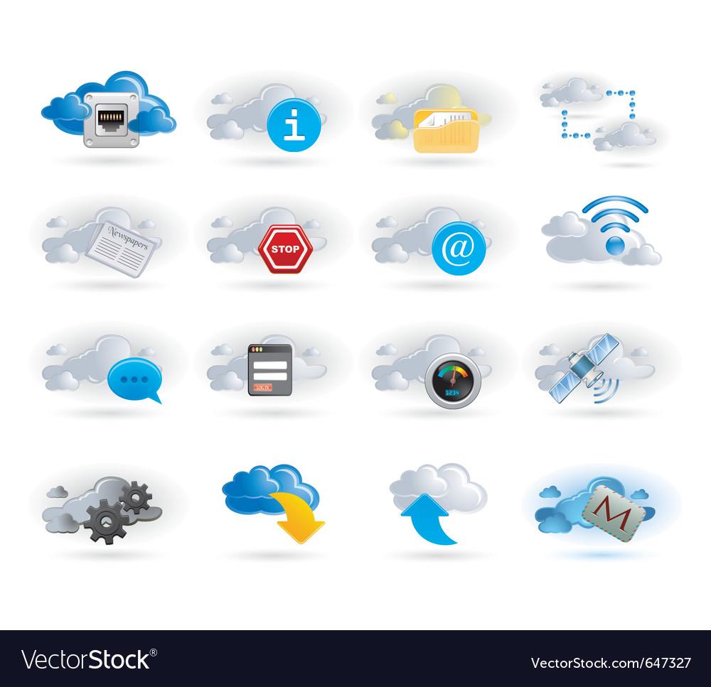 Cloud network icon set vector