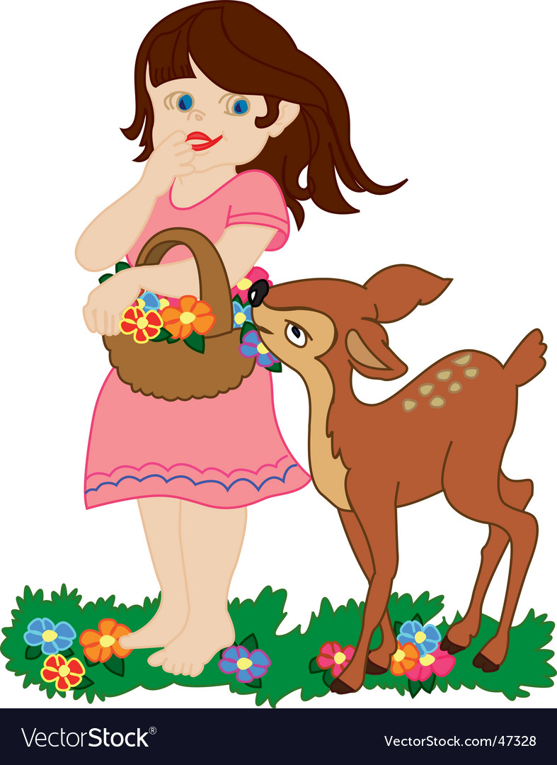 Girl and small deer vector
