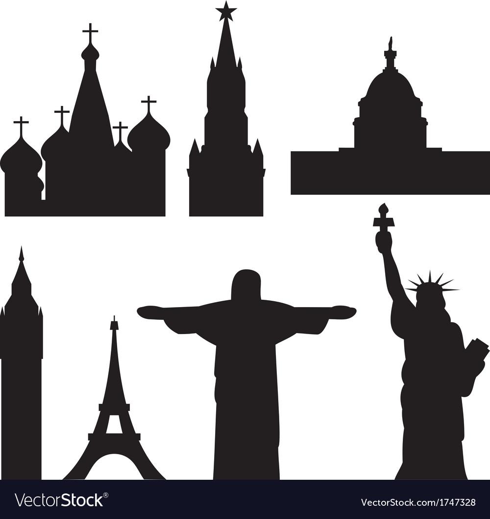 International historical landmark monuments vector