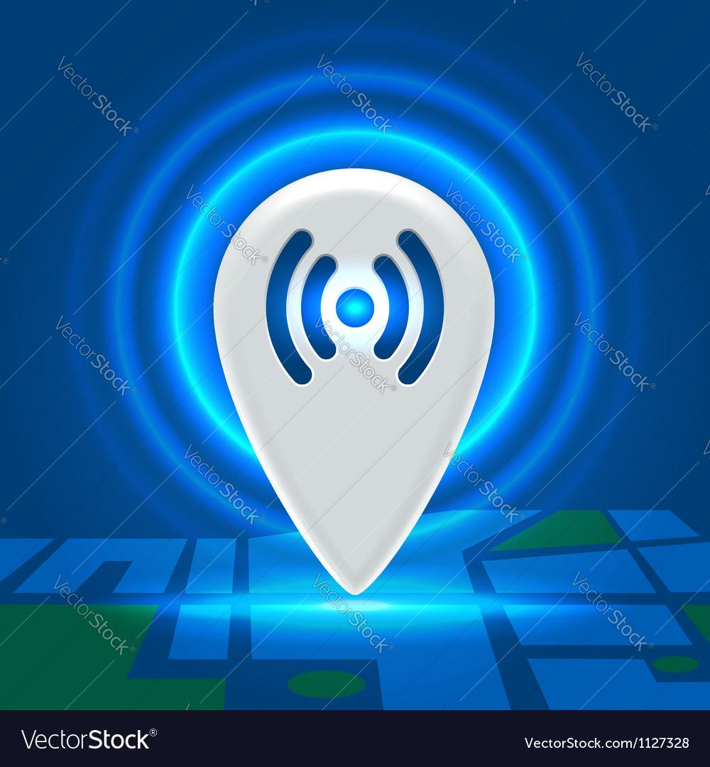 Wifi active spot over block map vector