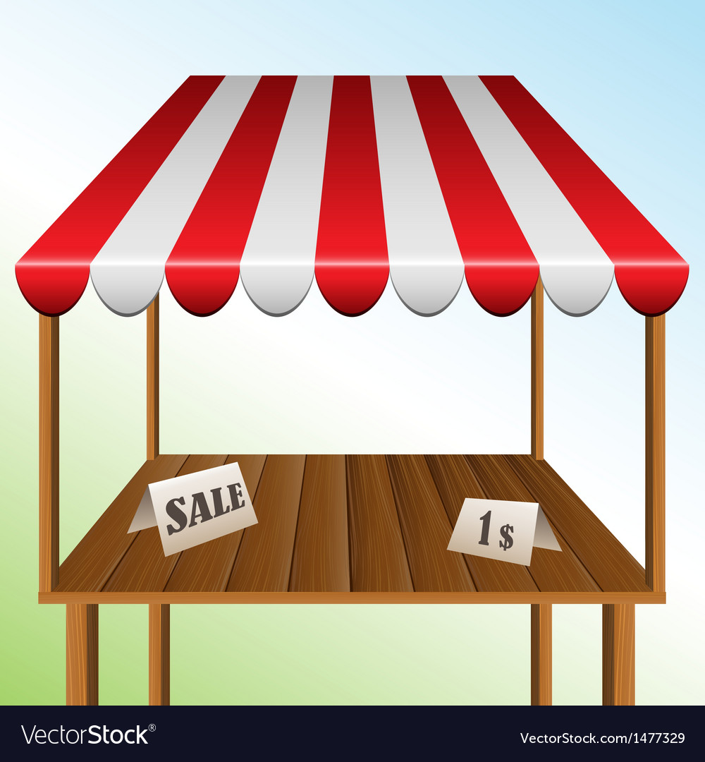 Sale table with stripped awning vector
