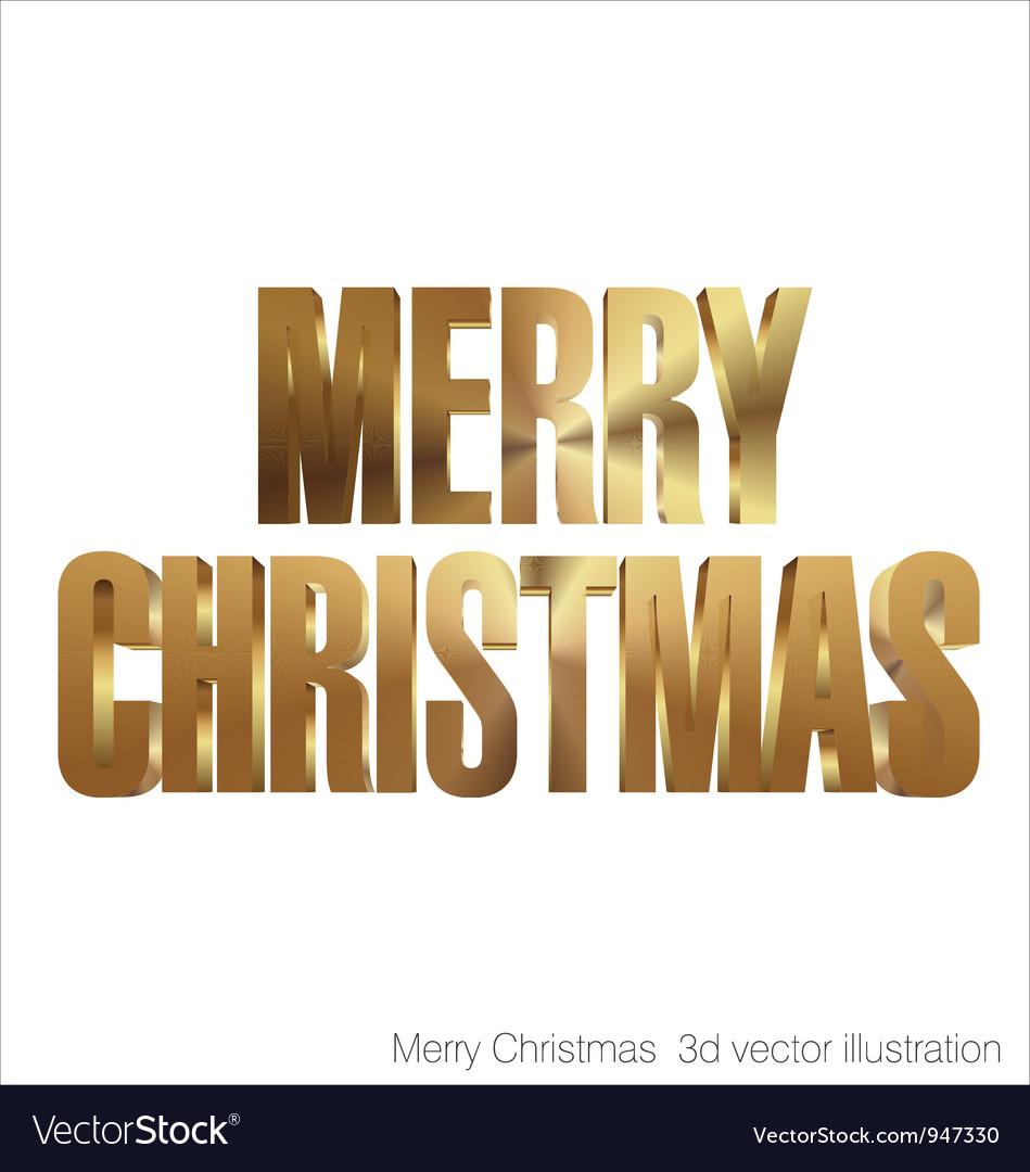 Merry christmas 3d golden text vector
