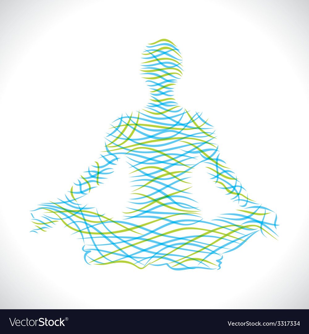 Yoga women draw with brush stroke vector
