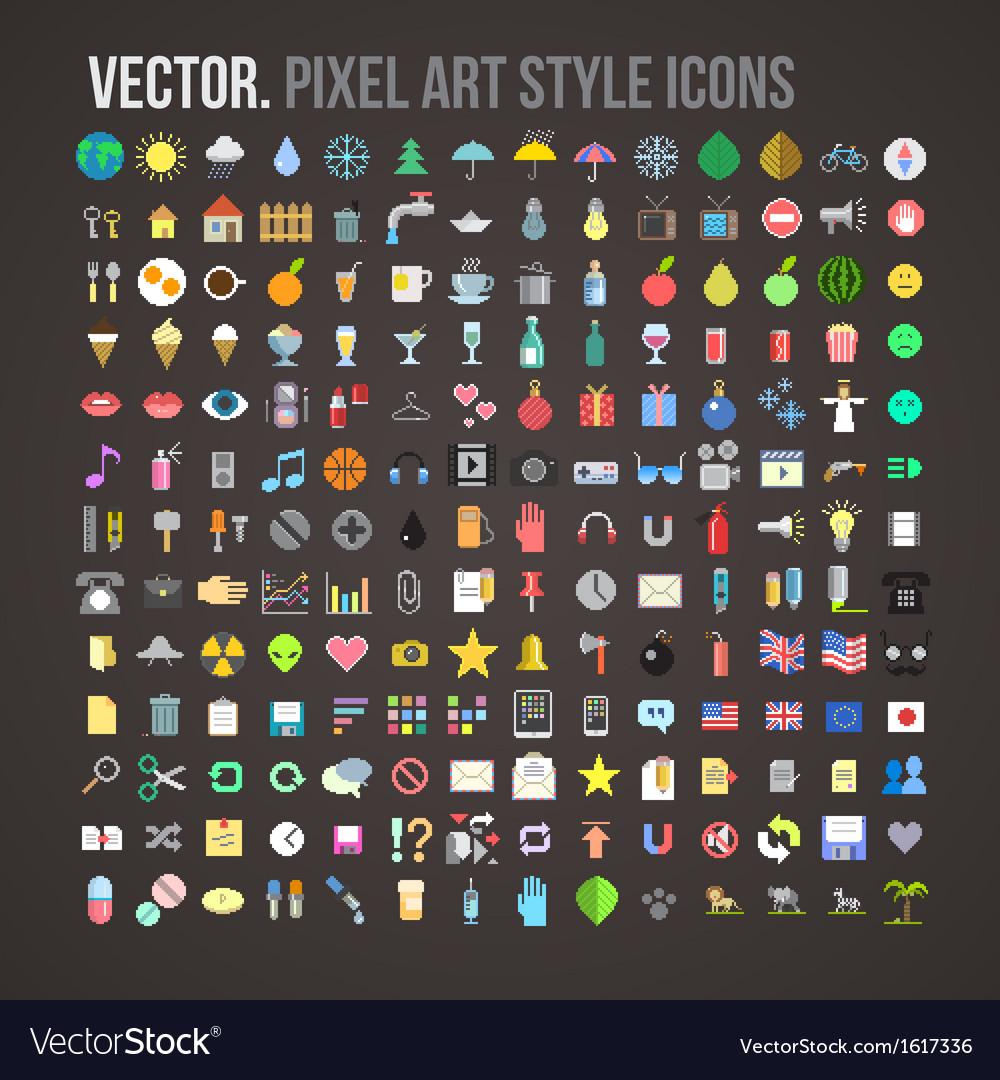 Color pixel art style icons set vector