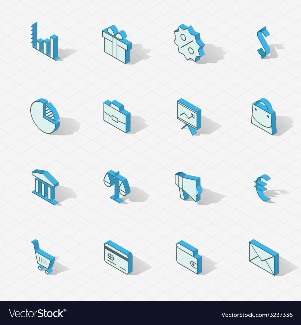 Light isometric flat design icon set vector