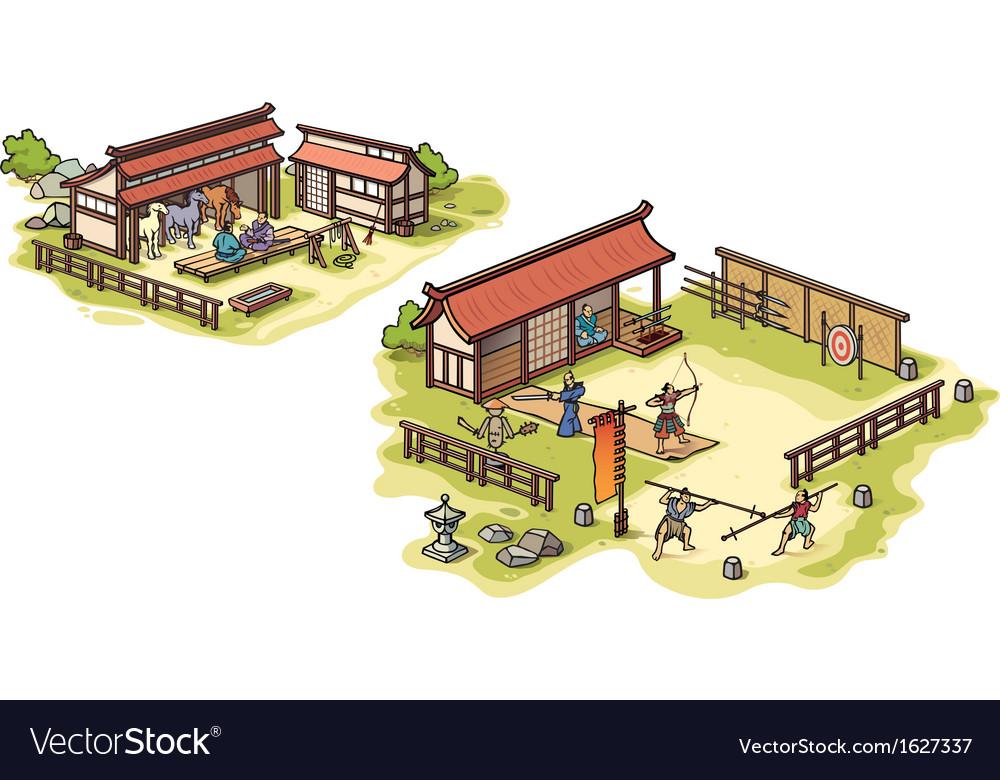 Samurai training camp vector