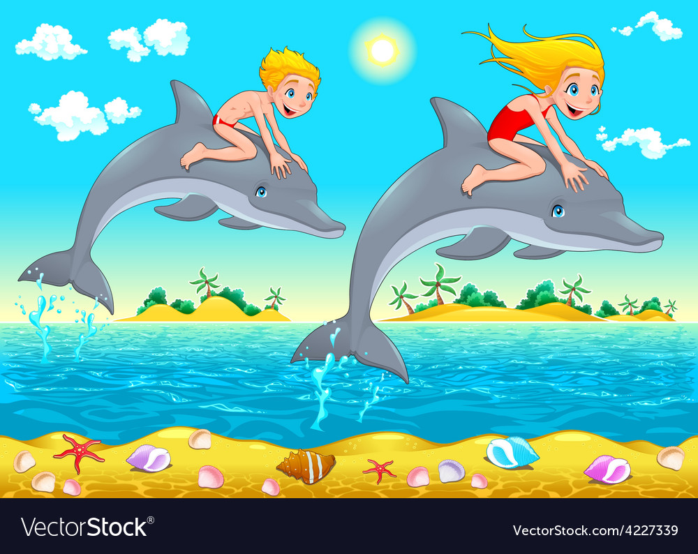 Boy girl and dolphin in the sea vector