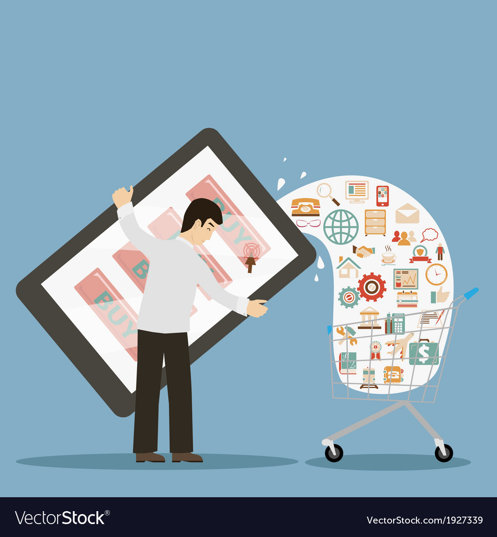 Flat design style businessman holding mobile vector