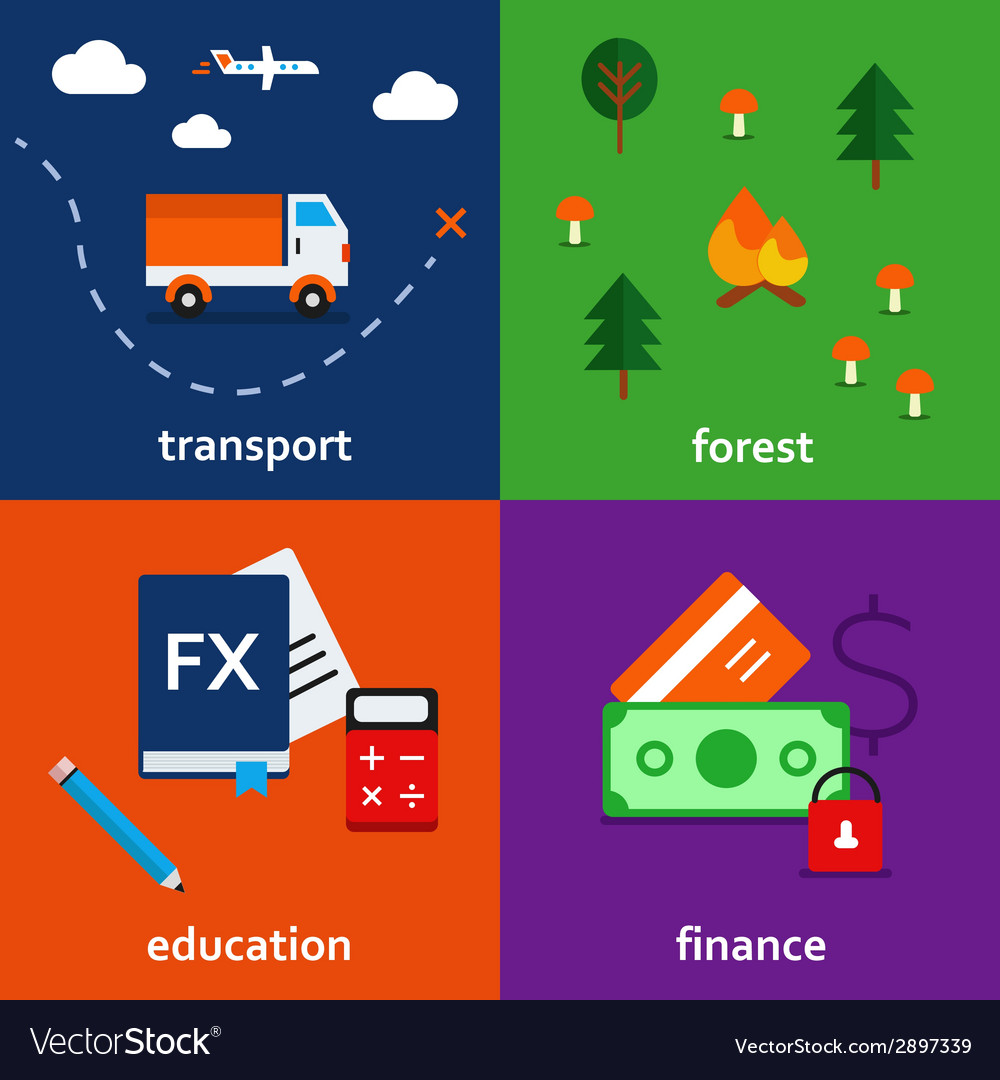 Infographic icon set of transport forest education vector